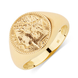 Small Coin Ring in 10kt Yellow Gold
