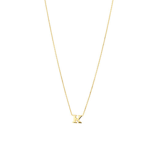 """K"" Initial Necklace in 10kt Yellow Gold"