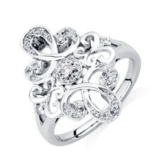 Online Exclusive - Michael Hill Designer Ring with 0.16 Carat TW of Diamonds in Sterling Silver & 10kt Rose Gold
