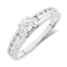 Online Exclusive - Engagement Ring with 0.59 Carat TW of Diamonds in 14kt White Gold