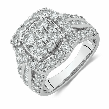 Engagement Ring with 2 1/2 Carat TW of Diamonds in 14kt White Gold