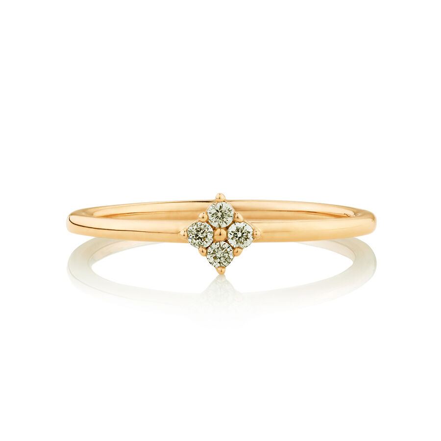 Flower Stacker Ring with Diamonds in 10kt Yellow Gold