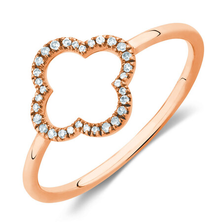4 Leaf Clover Ring With Diamonds In 10kt Rose Gold