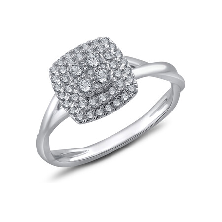 Cluster Ring with 0.40 Carat TW of Diamonds in 10kt White Gold