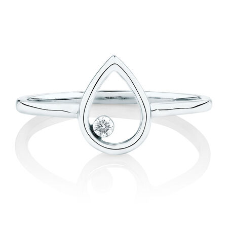 Pear Ring With a Diamond In 10kt  White Gold