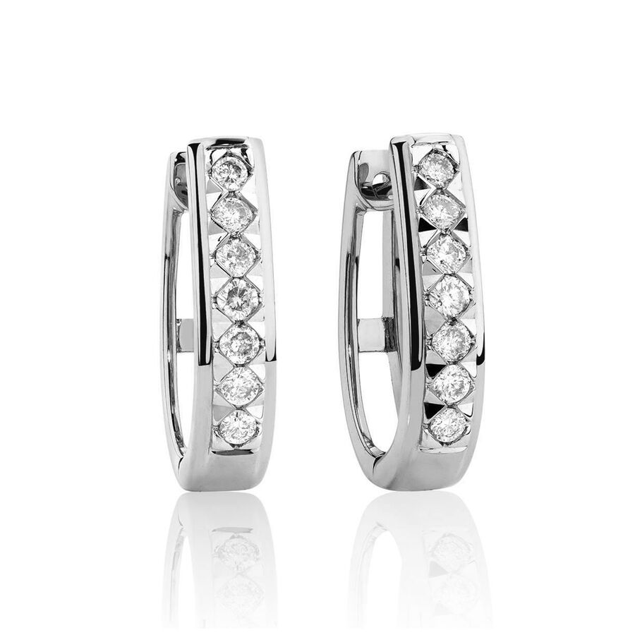 Huggie Earrings with 0.25 Carat TW of Diamonds in10kt White Gold