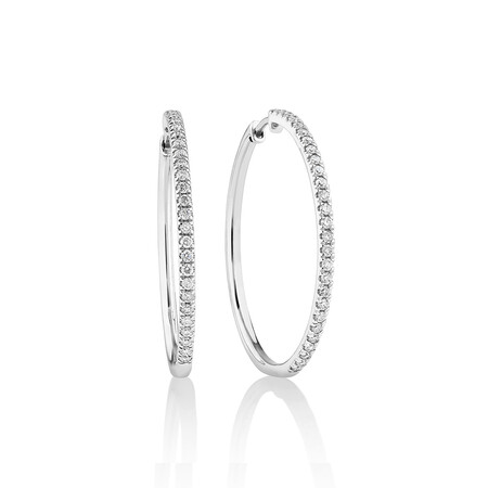 Pave Hoop Earrings with 0.60 Carat TW Diamonds in 10kt White Gold