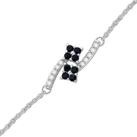 Bracelet with Sapphire and Diamond in 10kt White Gold