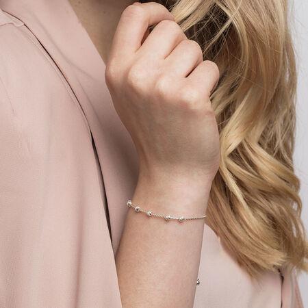 Adjustable Beaded Bracelet in Sterling Silver