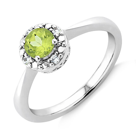 Ring with Created Peridot and Created Sapphire in Sterling Silver