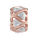Diamond Set, 10kt Rose Gold & Sterling Silver Heart Charm