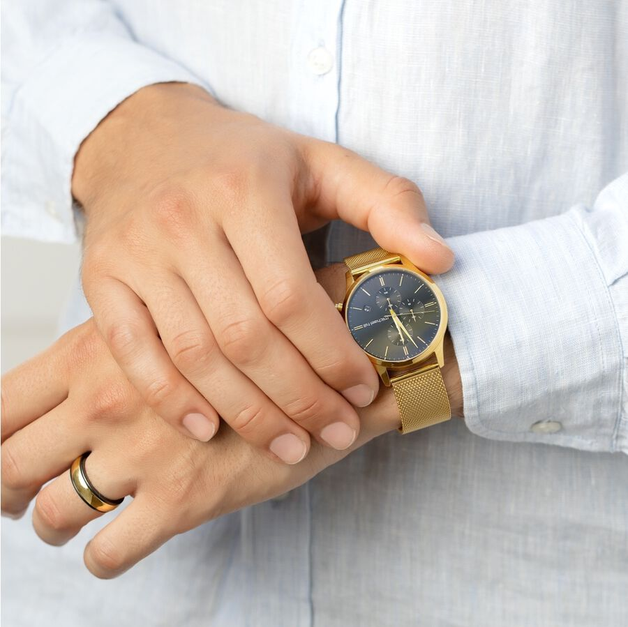 Men's Chronograph Watch in Gold Tone Stainless Steel