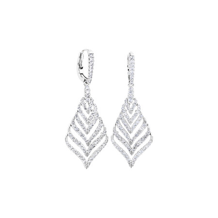 Leaf Drop Earrings With 1.75 Carat TW Of Diamonds In 10kt White Gold