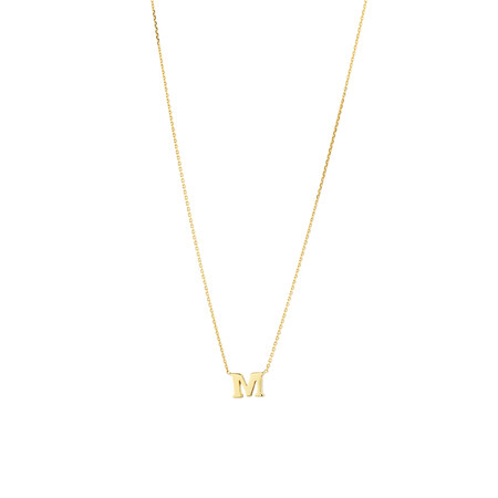 """""""M"""" Initial Necklace in 10kt Yellow Gold"""