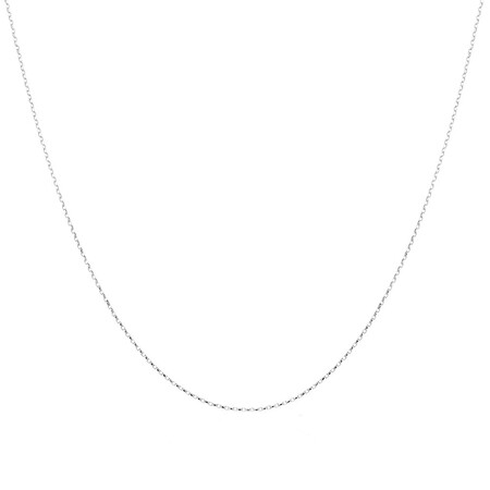 """55cm (22"""") Hollow Rolo Chain in 10kt White Gold"""