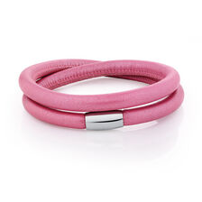 Wild Hearts Charm Bracelet in Pink Leather & Stainless Steel