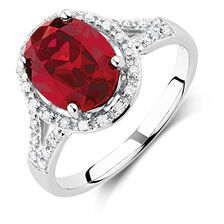 Ring with Created Ruby & 0.20 Carat TW of Diamonds in 10kt White Gold
