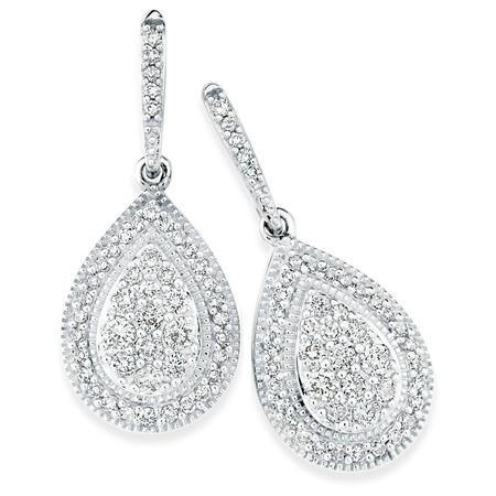 Drop Earrings with 1/2 Carat TW of Diamonds in 10kt White Gold