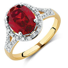 Ring with Created Ruby & 1/5 Carat TW of Diamonds in 10kt Yellow & White Gold