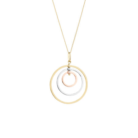Circle Pendant in 10kt Yellow, White & Rose Gold