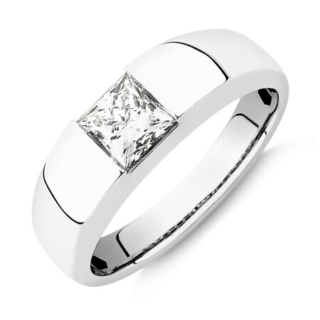 Laboratory-Created 1 Carat Men's Ring in 14kt White Gold