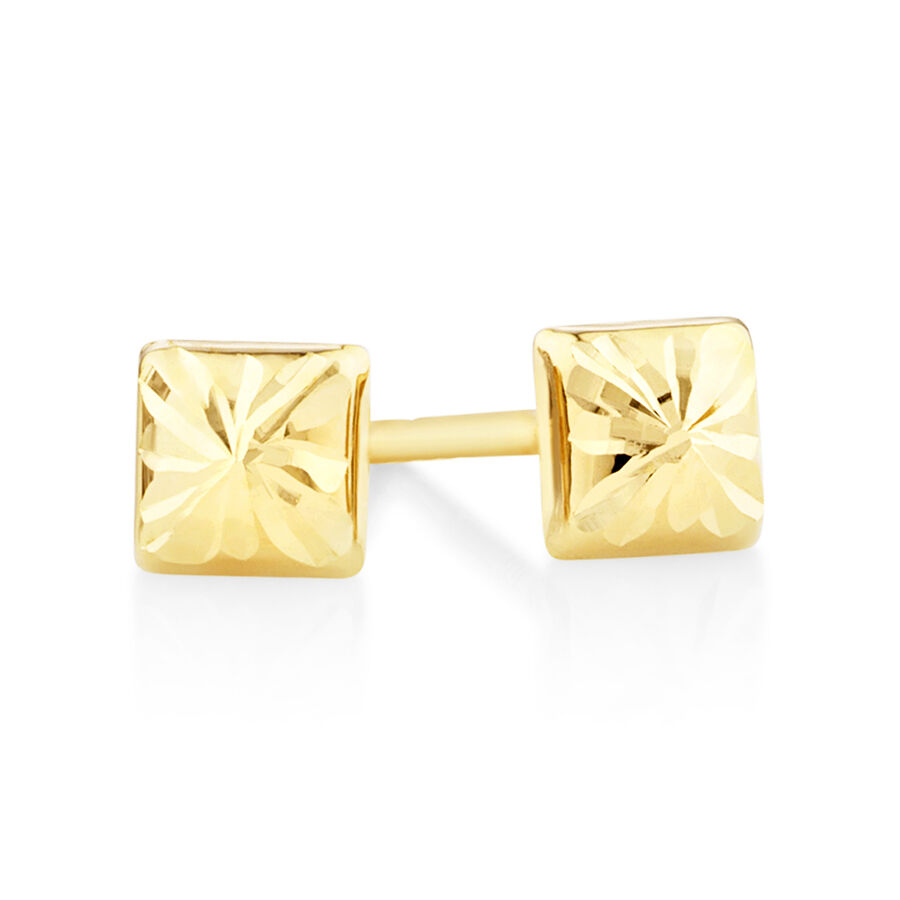 Square Stud Earrings in 10kt Yellow Gold