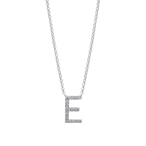 E' Initial necklace with 0.10 Carat TW of Diamonds in 10kt White Gold