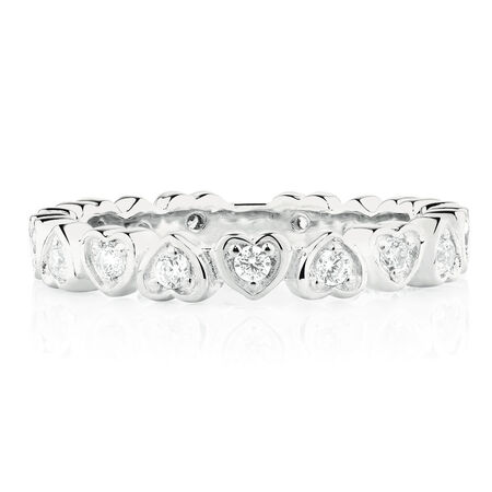 Heart Patterned Stacker Ring with Cubic Zirconia in Sterling Silver