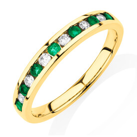 Ring with Natural Emerald & 0.15 Carat TW of Diamonds in 10kt Yellow Gold