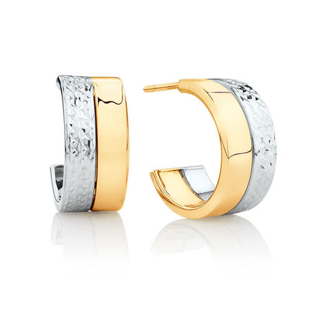 Half Hoop Stud Earrings in 10kt Yellow & White Gold