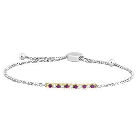 Adjustable Bracelet with Created Ruby & 0.15 Carat TW of Diamonds in 10kt Yellow Gold & Sterling Silver