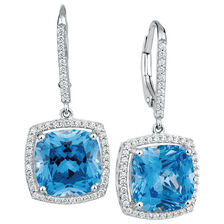 Drop Earrings with Blue & White Cubic Zirconia in Sterling Silver