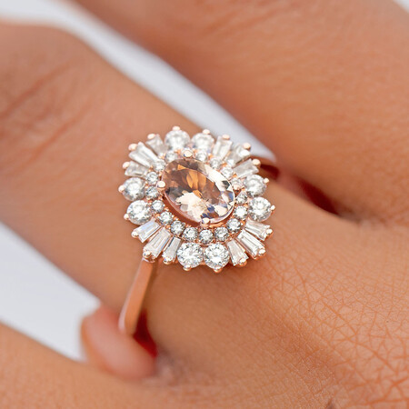 Ballerina Ring with 3/4 Carat TW of Diamonds & Morganite in 10kt Rose Gold