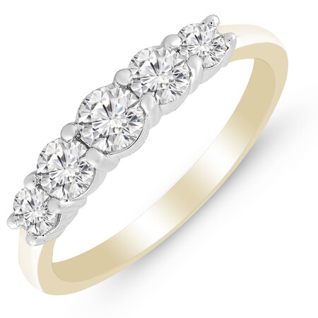 Five Stone Ring with 0.75 Carat TW of Diamonds in 14kt Yellow & White Gold