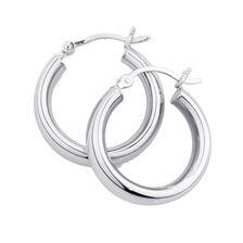 16mm Oval Hoop Earrings in Sterling Silver