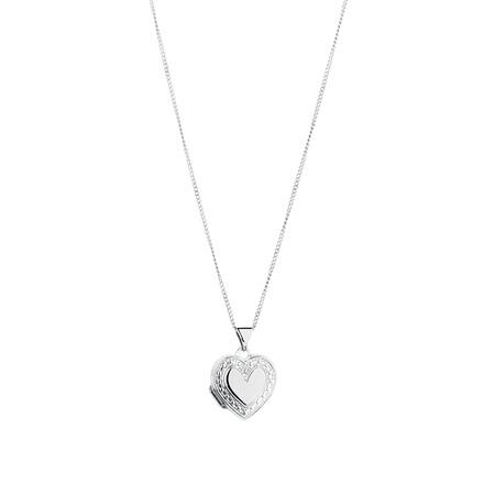 Heart Locket Pendant in 10kt White Gold & Sterling Silver