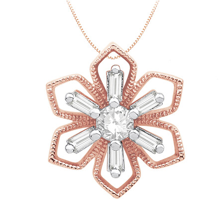 Flower Pendant with 0.15 Carat TW of Diamonds in 10kt Rose Gold