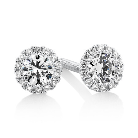 Sir Michael Hill Designer Halo Earrings with 0.52 Carat TW of Diamonds in 18kt White Gold