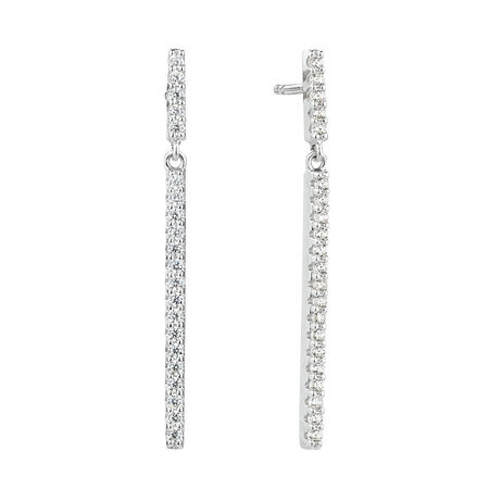 Bar Drop Earrings With Cubic Zirconia In Sterling Silver