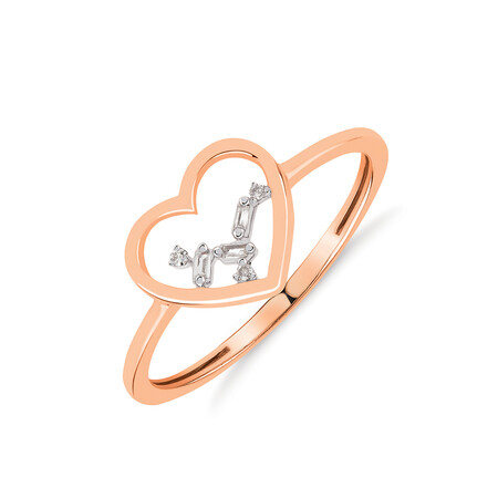 Heart Ring with Diamonds in 10kt Rose Gold