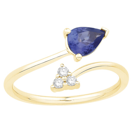 Ring with Tanzanite & Diamond in 10kt Yellow Gold