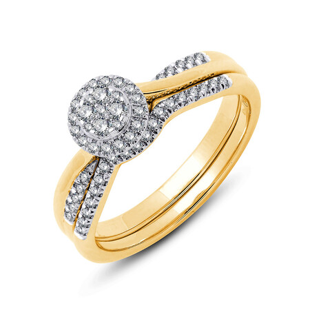 Bridal Set with 0.30 Carat TW of Diamonds in 10kt Yellow & White Gold