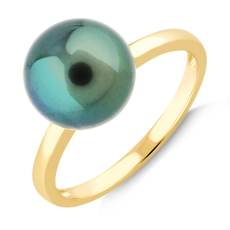 9mm Cultured Tahitian Pearl Ring In 10kt Yellow Gold