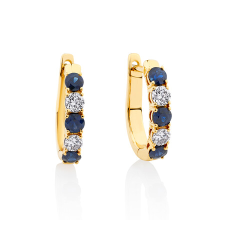 Hoop Earrings with Sapphire & 0.34 Carat TW of Diamonds in 10kt Yellow Gold