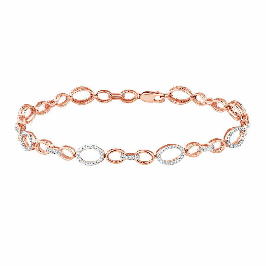 Bracelet with 1/5 Carat TW of Diamonds in 10kt Rose Gold