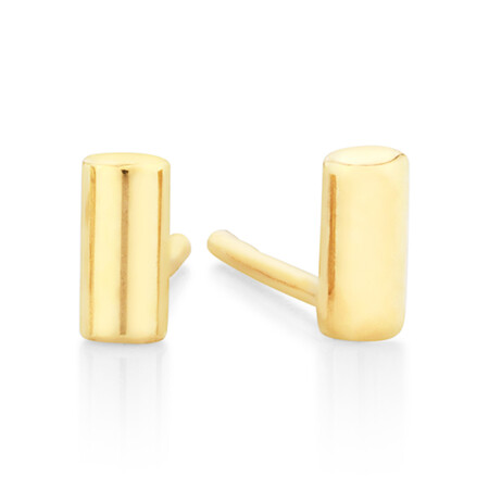 Polished Cylinder Stud Earrings in 10kt Yellow Gold