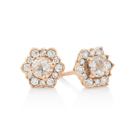 Halo Stud Earrings with Morganite & 0.25 Carat TW of Diamonds in 10kt Rose Gold.