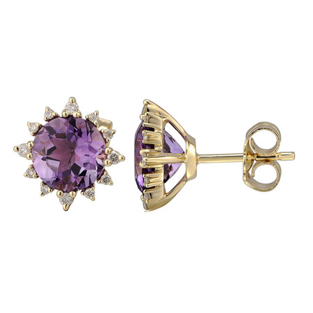 Earrings with Natural Amethyst & 0.13 Carat TW of Diamonds in 10kt Yellow Gold
