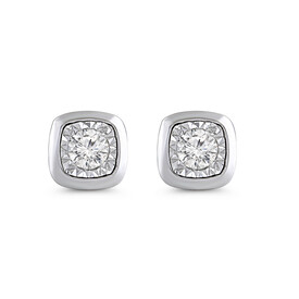 Circle Stud Earrings with Diamonds in 10kt White Gold