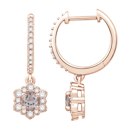 Drop Earrings with Morganite & 0.34 Carat TW of Diamonds in 10kt Rose Gold
